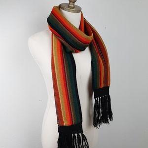 100% Alpaca Striped Knit Scarf Fringe Stripe L.A.M
